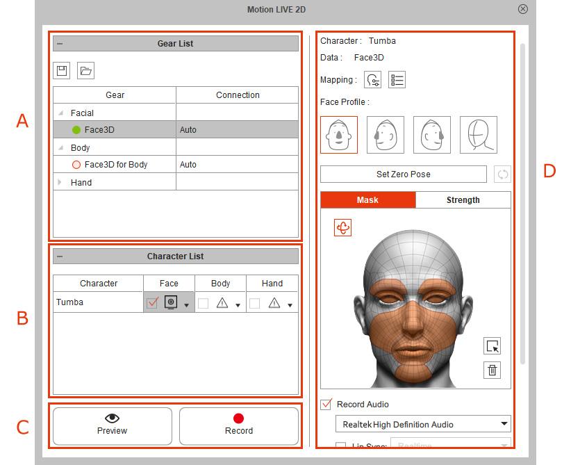 Motion LIVE 2D Plugin Online Manual - Facial Mocap User Interface