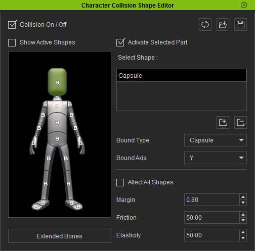 Settings for Collision Shapes of Characters